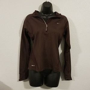 Nike Fit Dry 1/4 Zip Hoodie Sweatshirt Brown Sm